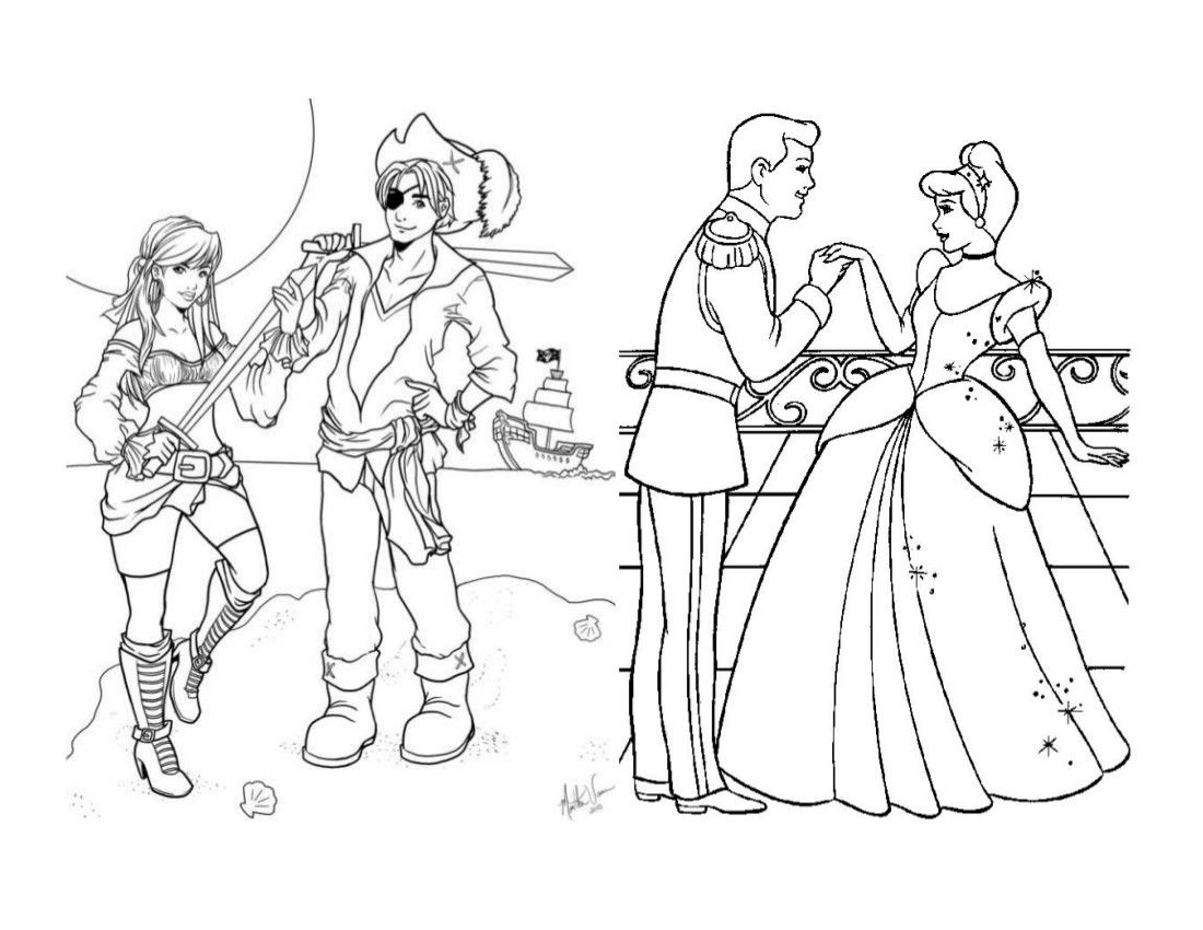 Pirates and princesses coloring page coloring pages pinterest