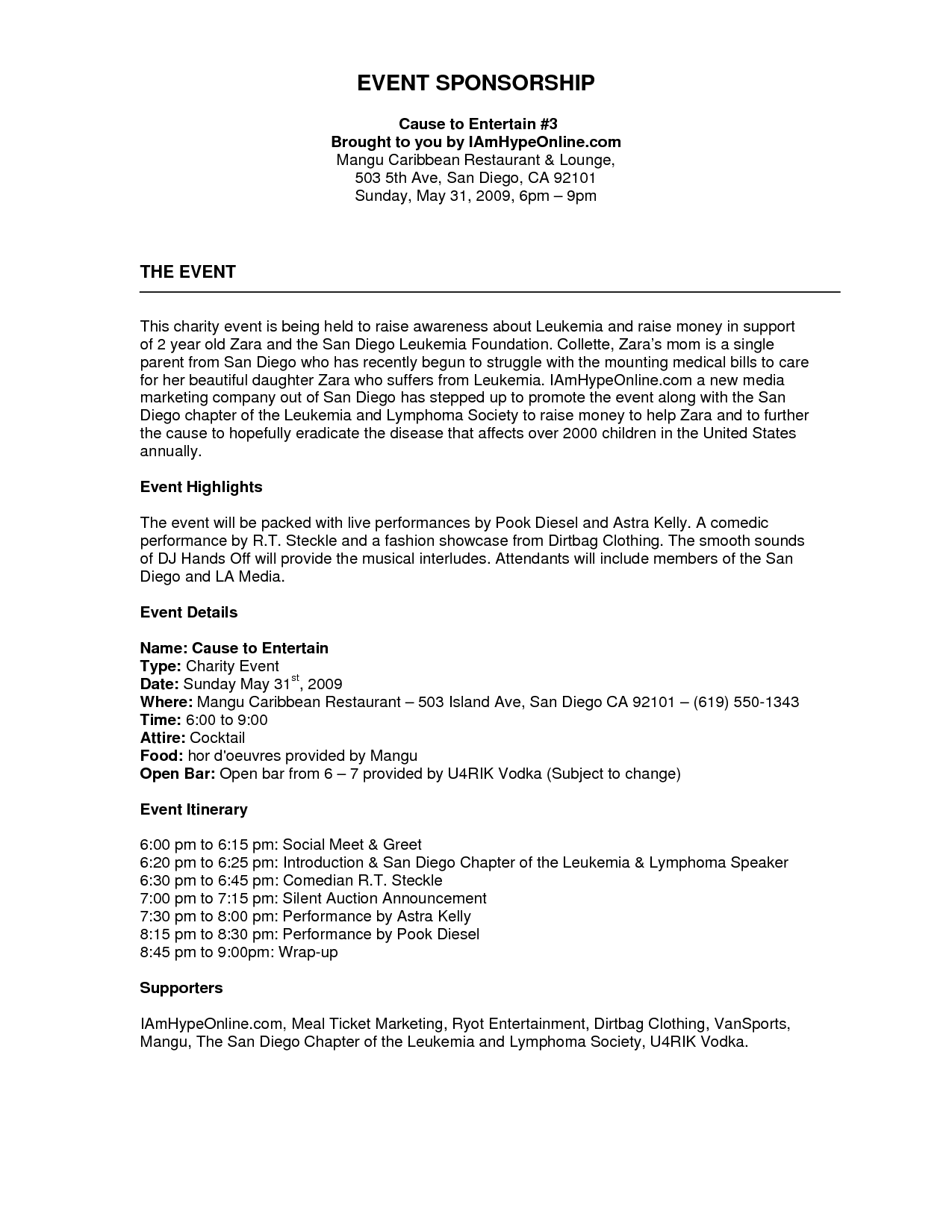 project summary event proposal template formathtml sponsorship – Sponsorship Proposal Samples
