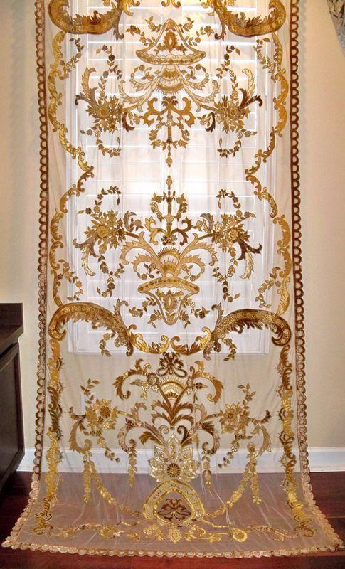 Italian Embroidered Velvet Fabric Sheer Drapes Panel Gold