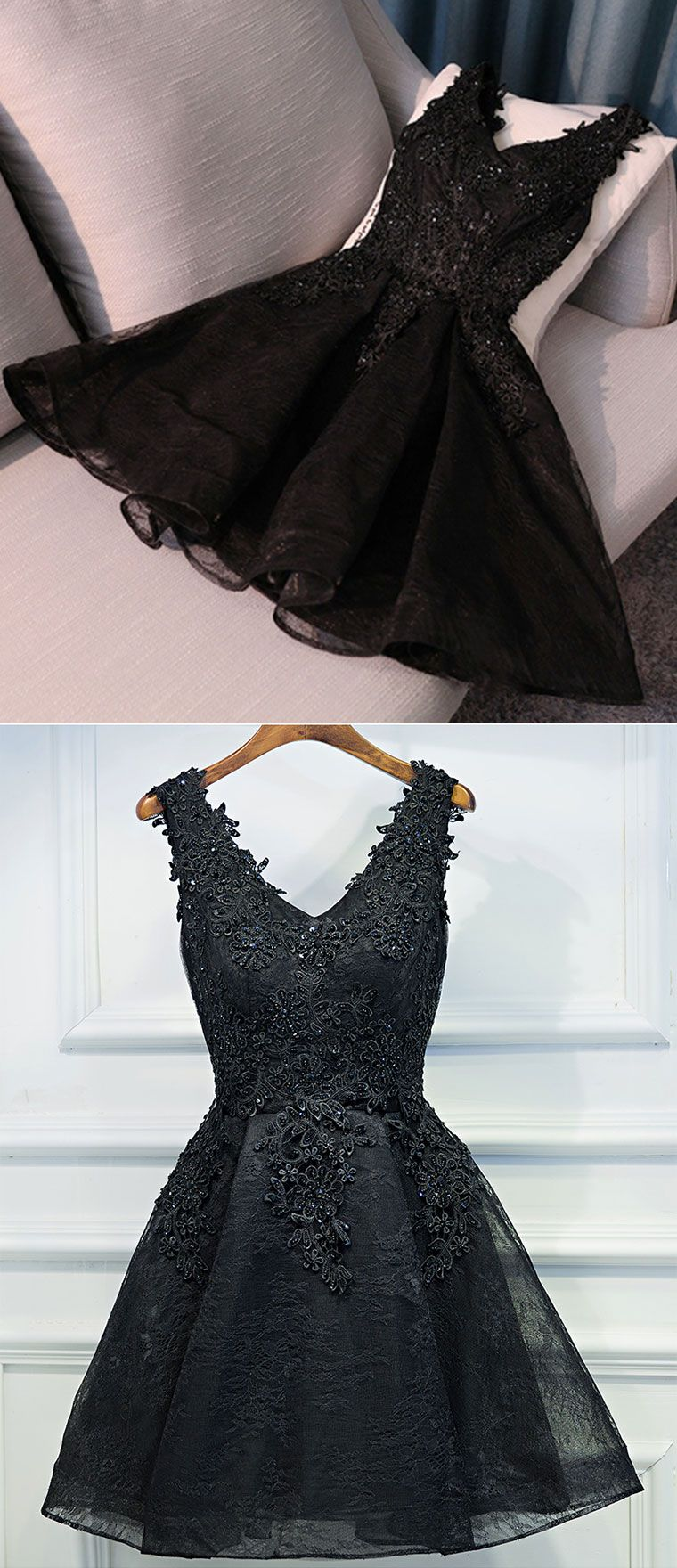 Black v neck lace short prom dress lace evening dress from of girl