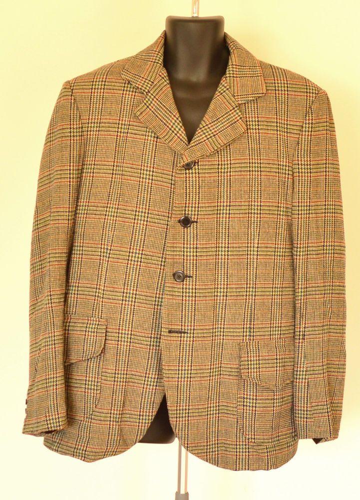 Men's  Sack Suit - 1900s Style - Tan-Multicolor  Plaid - XL -