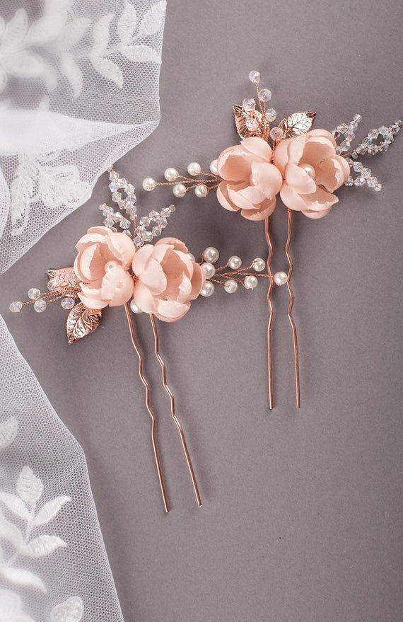 Burgundy silk flower hair pins Burgundy rosebud hair pin | Etsy