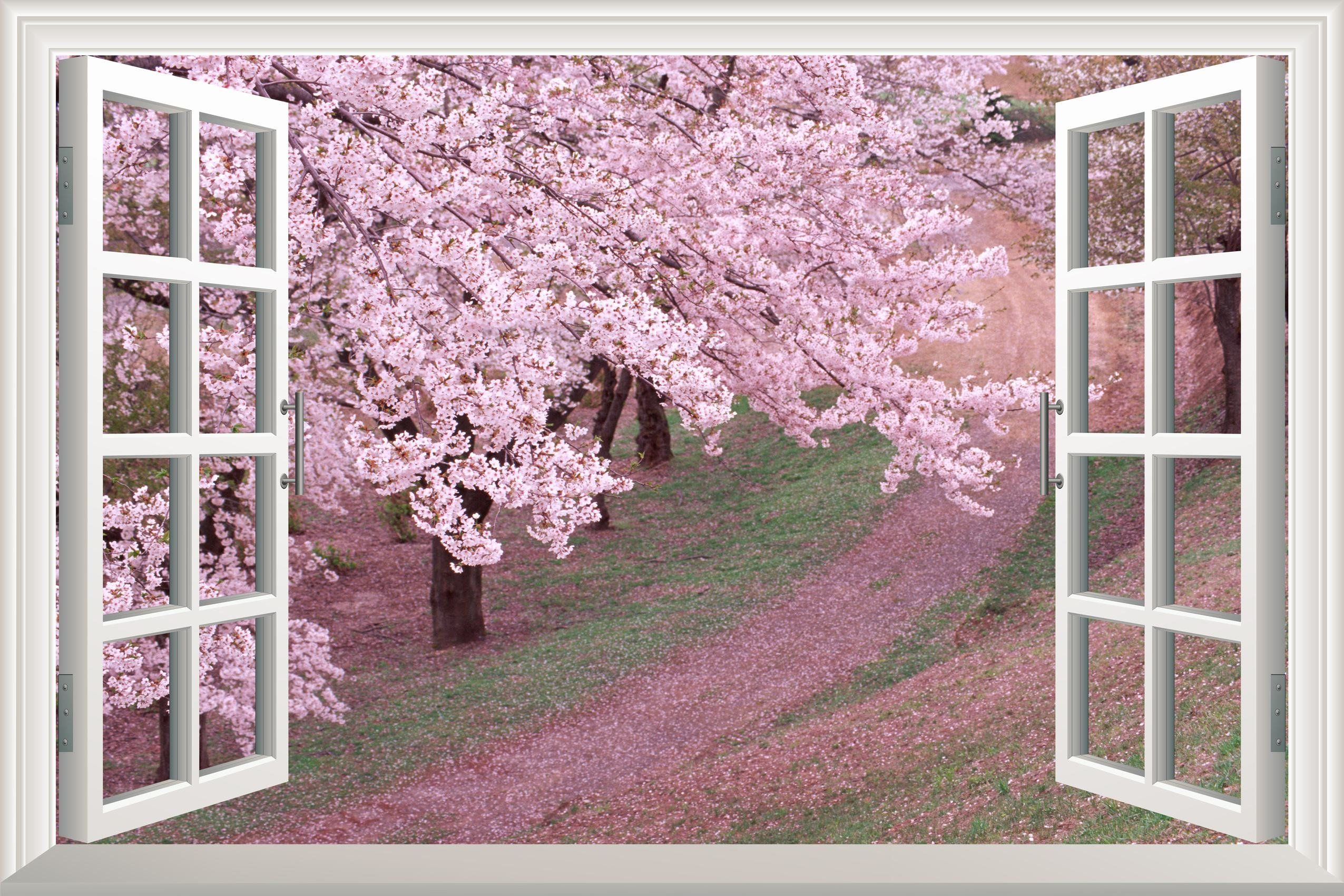 Pink Cherry Blossom Spring Open Window Mural Wall Sticker