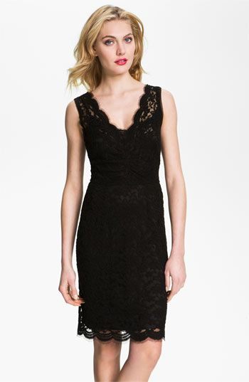 Beautiful Little Black Dress For Bridesmaids Love The Scalloped Edges Calvin Klein V Neck Lace Sheath Available At Nordstrom Nordstromweddings