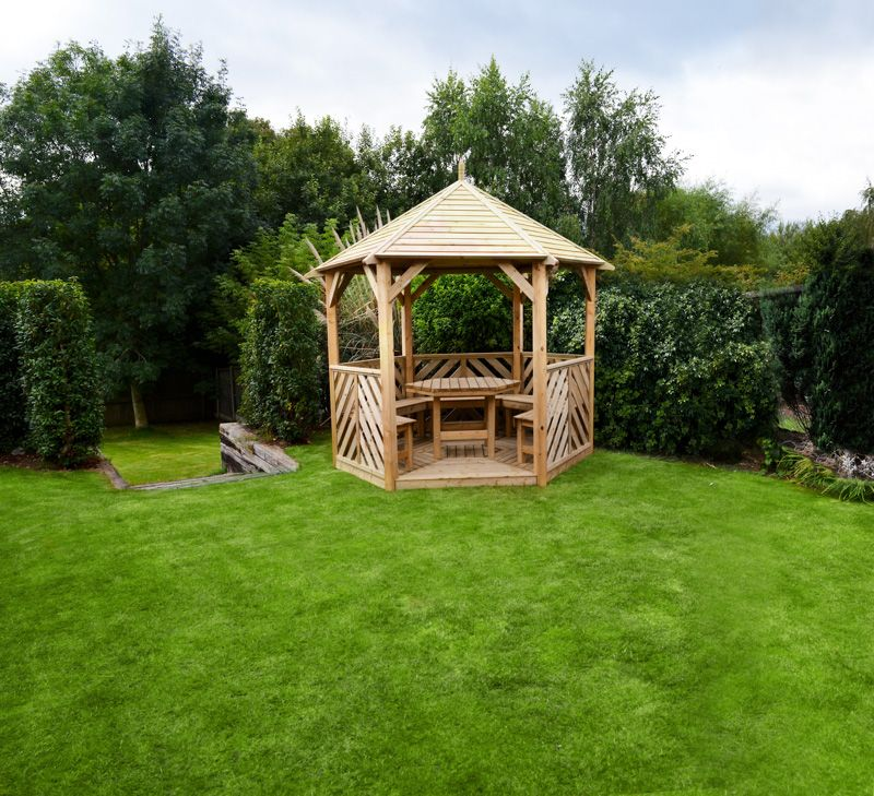 Wondrous Woodshaw Willoughby Gazebo With Table 5 Benches Open Ibusinesslaw Wood Chair Design Ideas Ibusinesslaworg