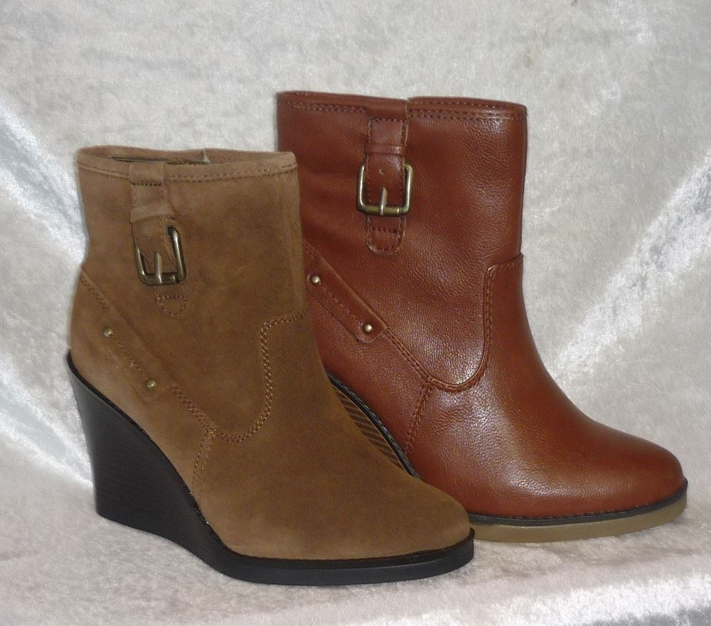 6b378f0e71b59 Liz Claiborne Womens Boots wedge ankle casil solid sizes 6.5 8.5 10 NEW  26.99 http