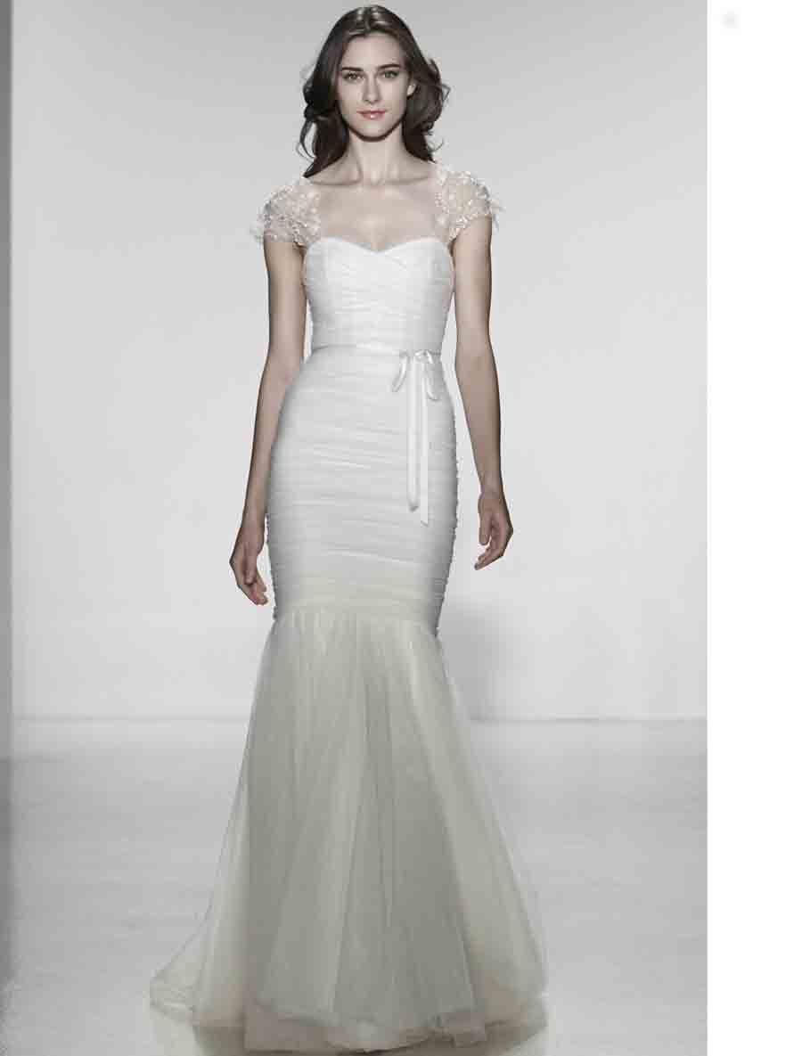 Christos Annette T304 Discount Designer Wedding Dress Love The Embellished Cap Sleeves