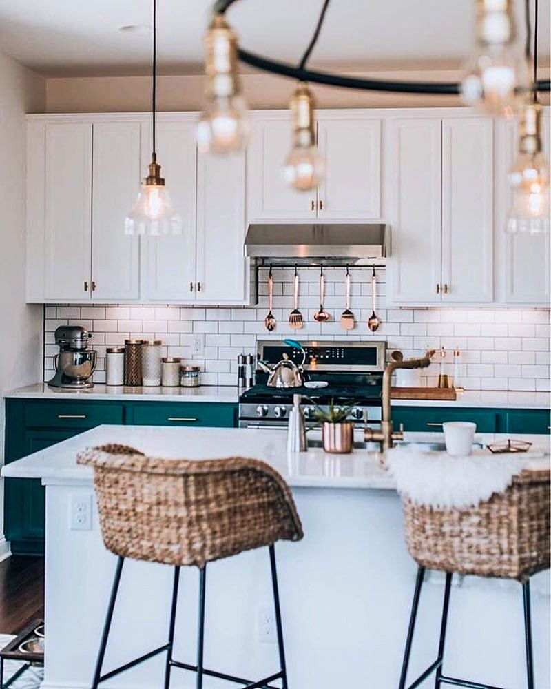Woven Chairs And Low Hanging Lights / Kitchen