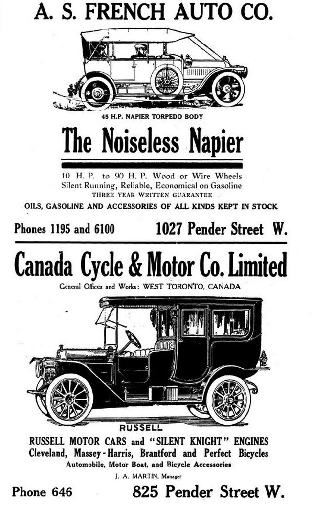 Motor Cars, 1911 Canada Cycle & Motor Co. Ltd. still exists as two ...
