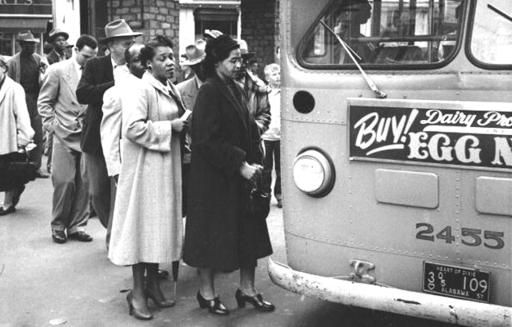 Montgomery Bus Boycott Blacks Boarding The Front Of A Bus Rosa