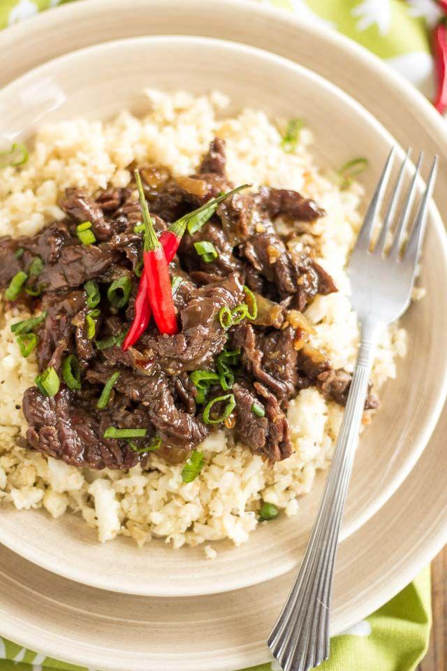 Mongolian Beef Over Cauliflower Rice Recipe Beef Recipes