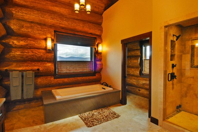 Log Cabin Bathroom with Roman Shade on the window | Tub & Shower ...