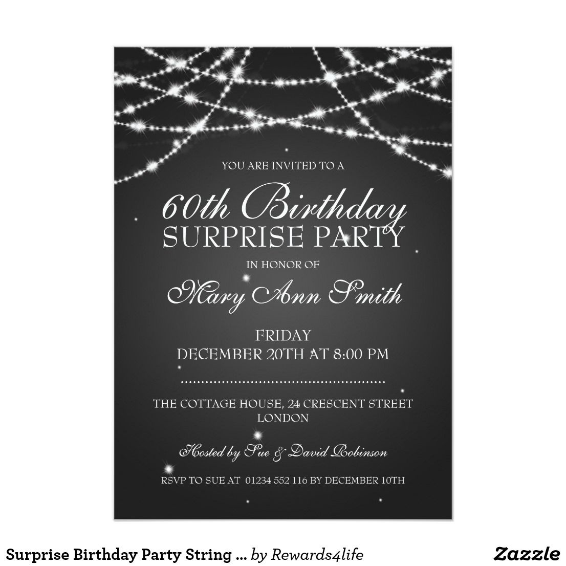 Surprise Birthday Party String of Stars Black Card | Surprise ...