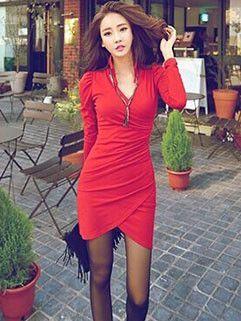 Korean Sexy Solid V Neck Wrap Club Dress