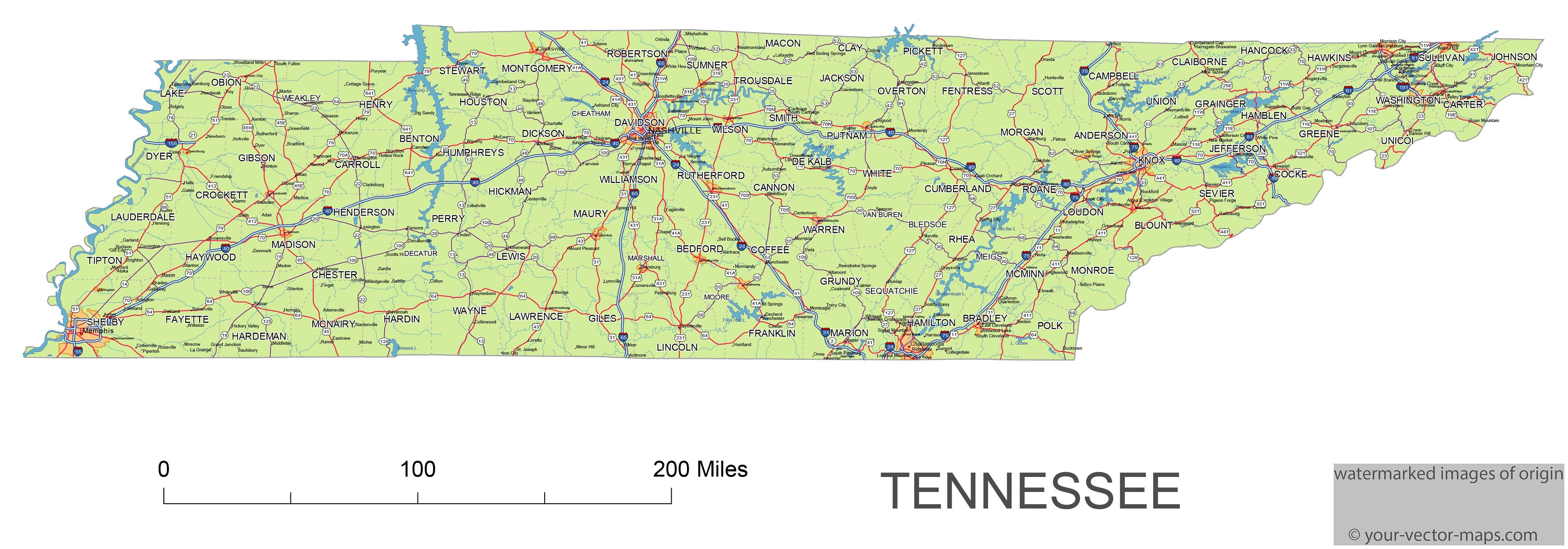 Tennessee state route network map. Tennessee highways map. Cities of ...