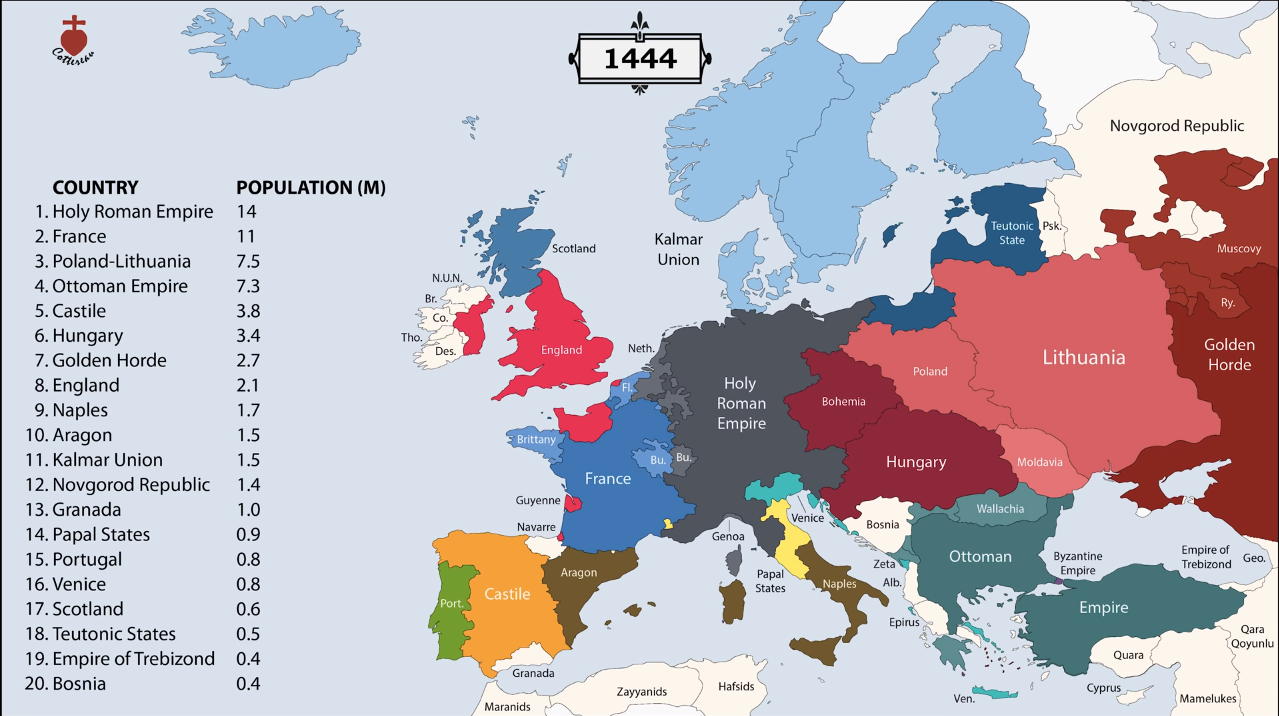 Potion of Europe in 1444 | European map, European ... on vietnam map 1944, italy map 1944, belgium map 1944, poland map 1944, world war 2 map 1944, wwii map 1944, europe during wwii, north africa map 1944, netherlands map 1944, german map 1944, ukraine map 1944, balkans map 1944, middle east map 1944, germany map 1944, ww2 world map 1944, france map 1944, georgia map 1944, world war i map 1944, czechoslovakia map 1944, hungary map 1944,