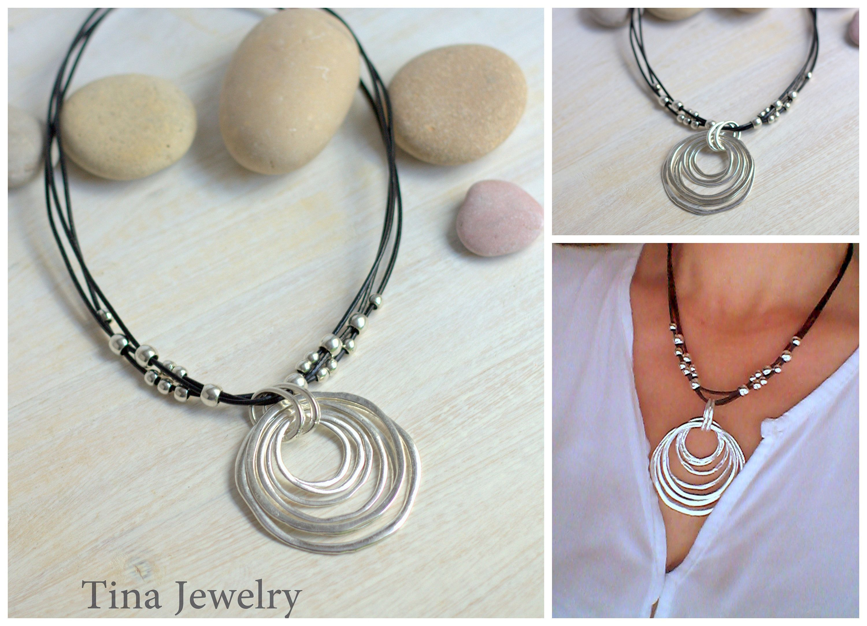sensation collections silver products necklaces grey n jewellery necklace boheme leather