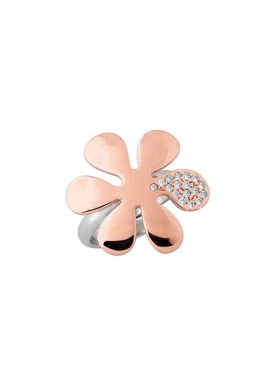 Anello in argento rodiato e placcato rosè con pietre cubic zirconia bianco - Collezione I Fiori di Giulietta | Aquaforte Gioielli - Vicenza