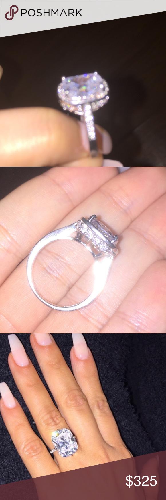 14K white gold Engagement Ring Kim K Inspired New Engagement Ring ...