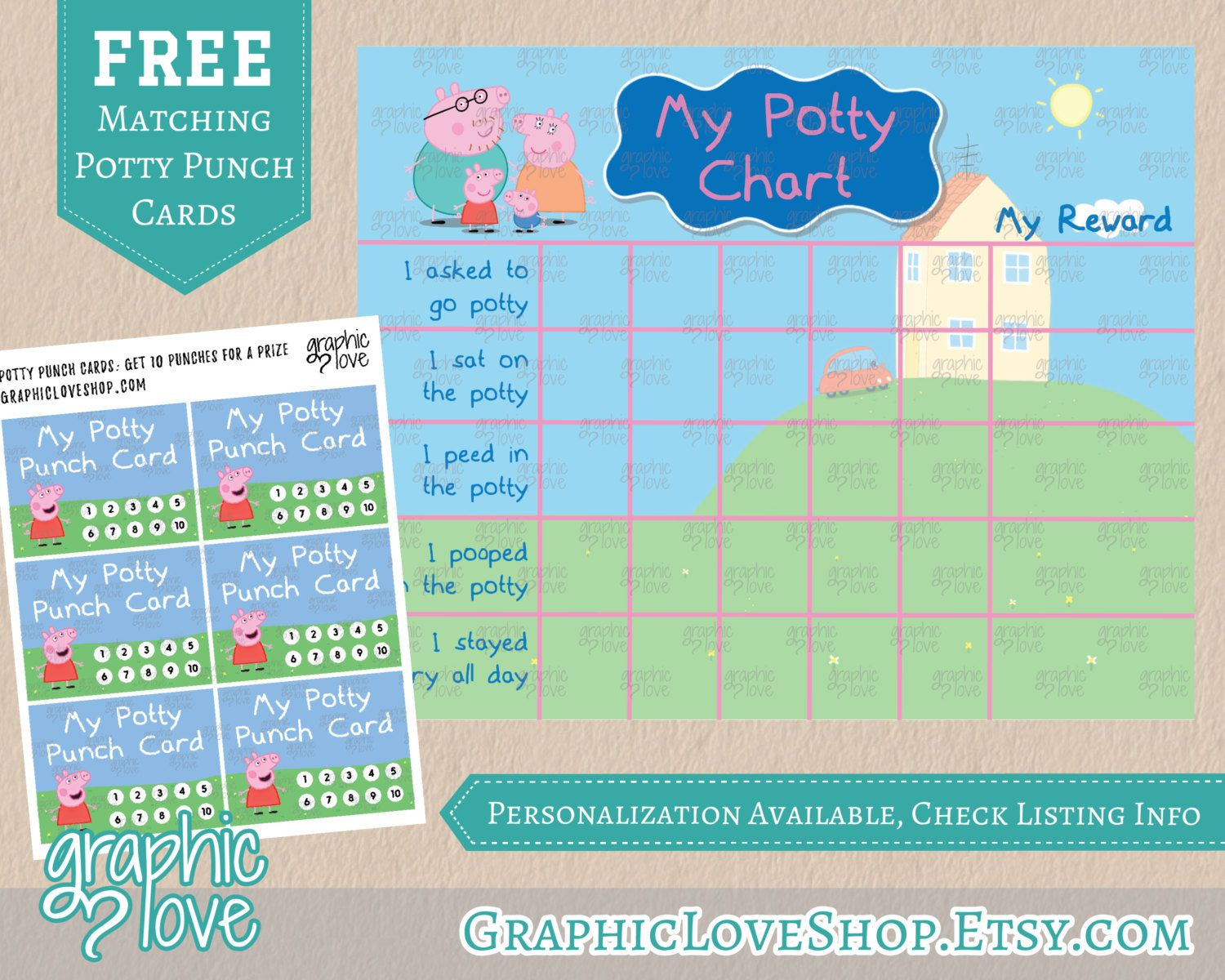 digital peppa pig potty training chart  free punch cards