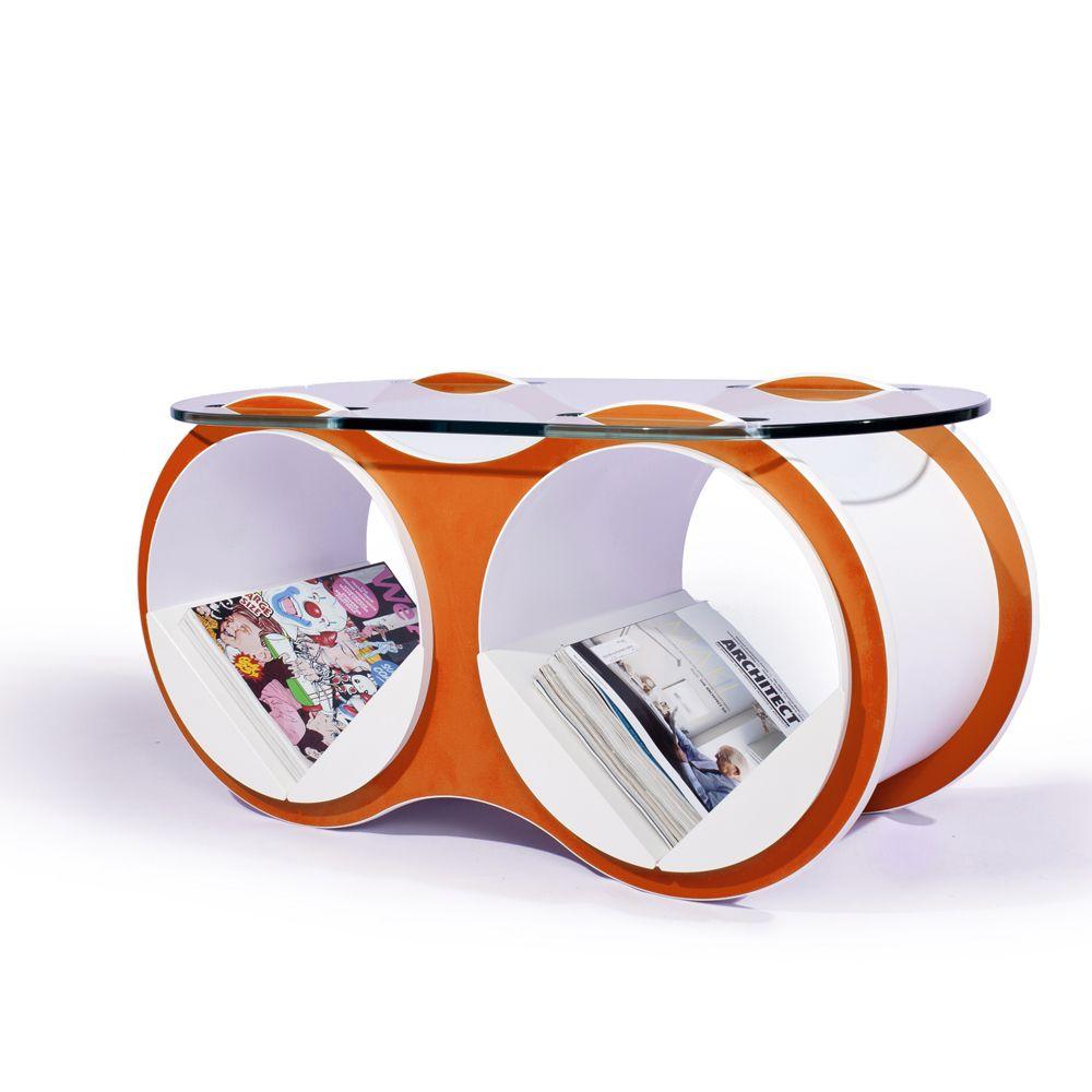 Impressive Modular Futuristic Tangerin Orange Bolla 2 Coffee Table With  Adjustable Magazine Storage Lightweight Metal Shelves