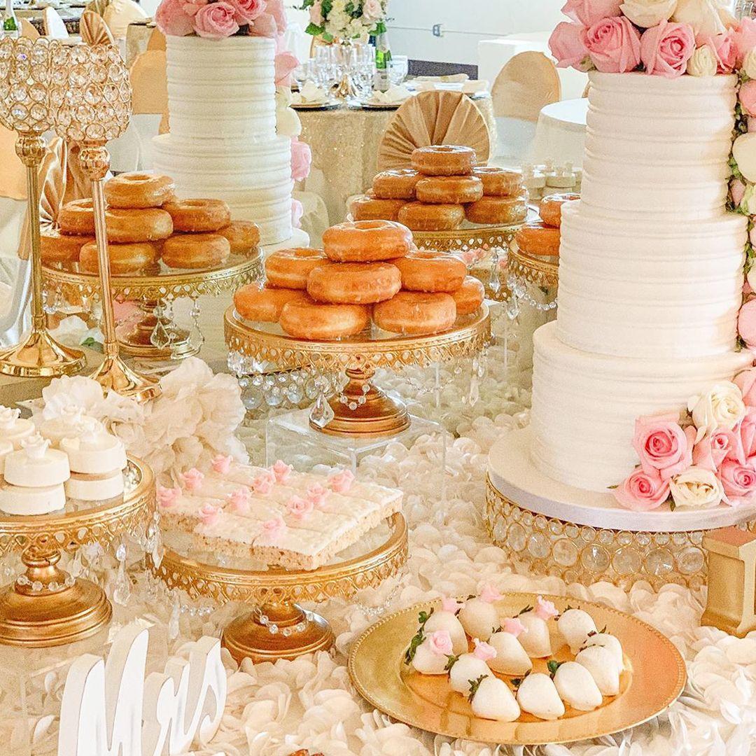 3 Piece Glass Top Crystal Cake Stand Set Gold Wedding Desserts