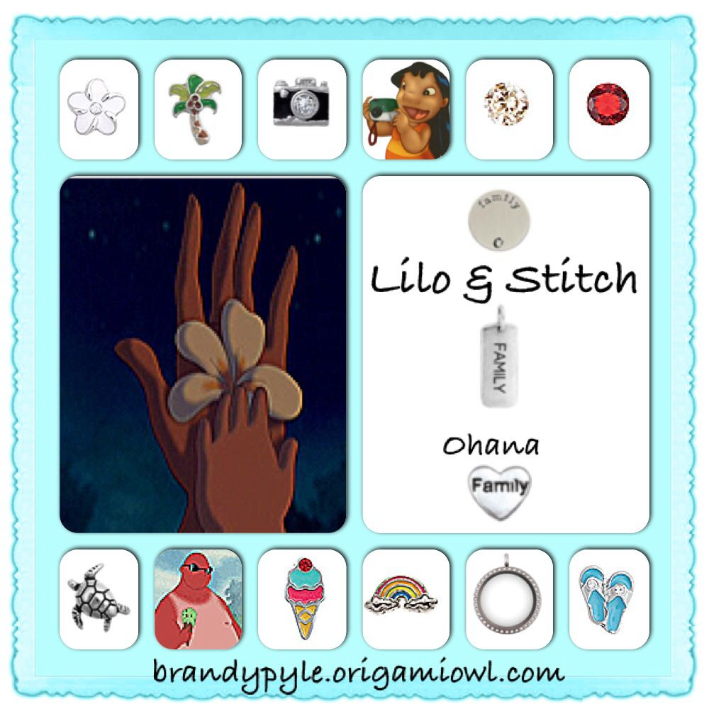 Lilo and Stitch themed Origami Owl Living Locket. Ohana means family. Order at Mikayladagenais.origamiowl.com Designer Number: 12193494