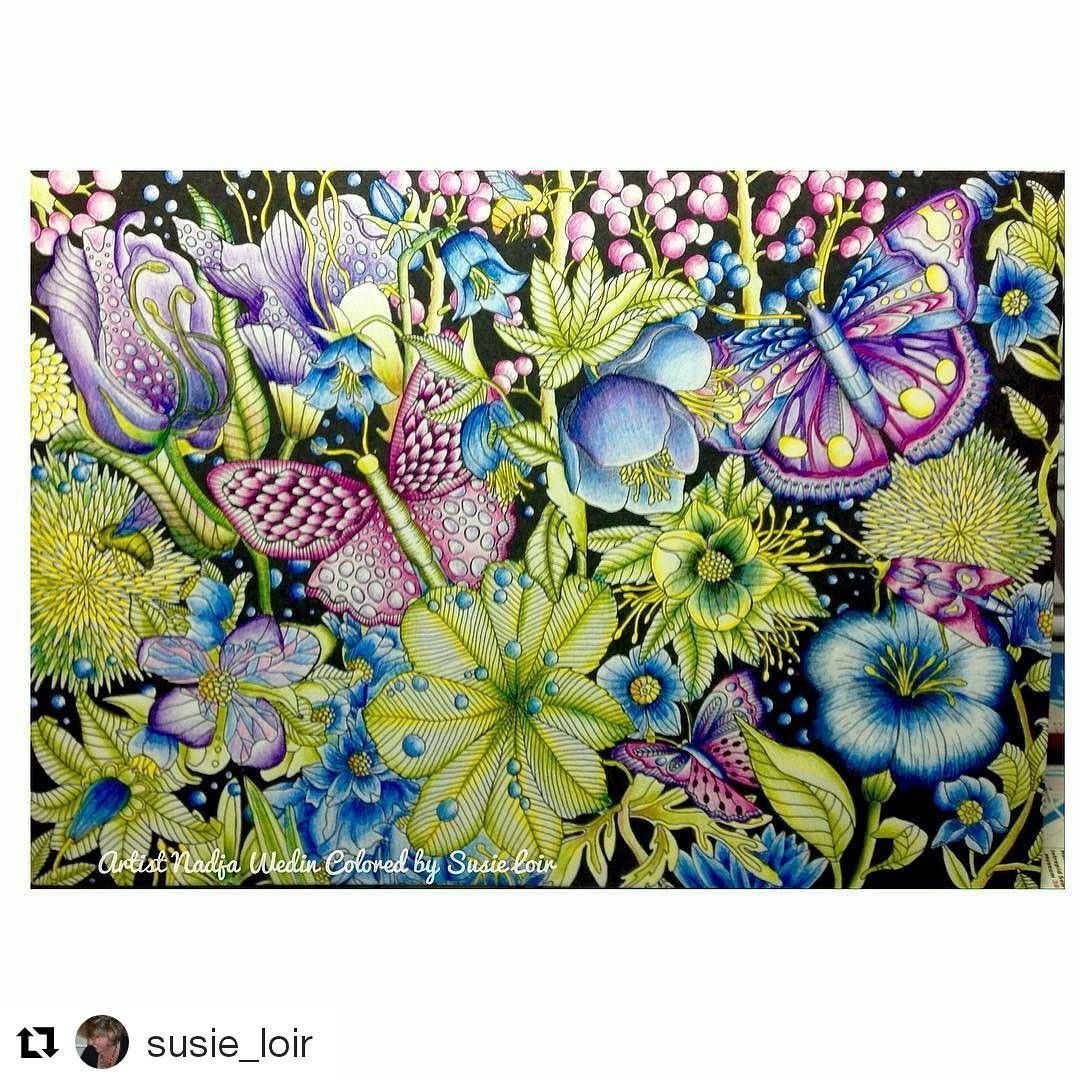 #Repost @susie_loir with @repostapp ・・・ Finished!!! This was for a challenge in our group. Only 5 colors. One pencil for each color. blue-purple-pink-yellow-green, black and white... From Fåglar & Fjärilar by @nadjawedin Come join us in our Facebook group: Fans of Nadja Wedin's Fåglar & Fjärilar Colouring Book Birds & Butterflies #nadjawedin #nadjawedindesign #coloringbookbynadjawedin #paginaförlag #artecomoterapia #divasdasartes #colorindolivrostop #coloring #coloringforadults #color...
