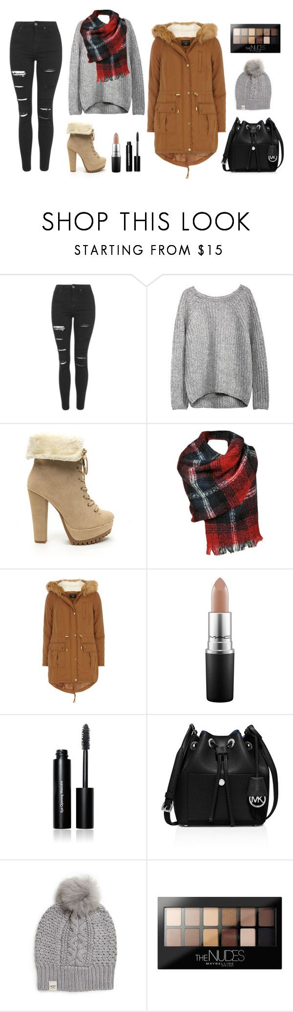 """""""cold winter"""" by milan-inez on Polyvore featuring Topshop, Black Rivet, Dorothy Perkins, MAC Cosmetics, Bobbi Brown Cosmetics, MICHAEL Michael Kors, UGG Australia, Maybelline, Boots and winteroutfit"""