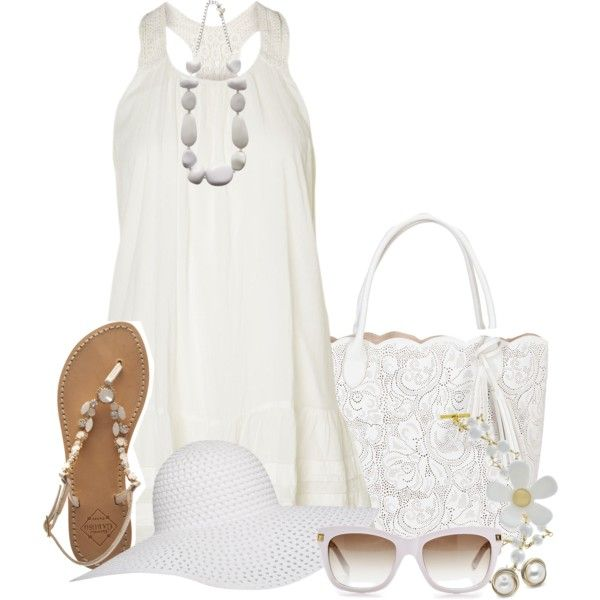 """hot summer day in white"" by mrswomen on Polyvore"