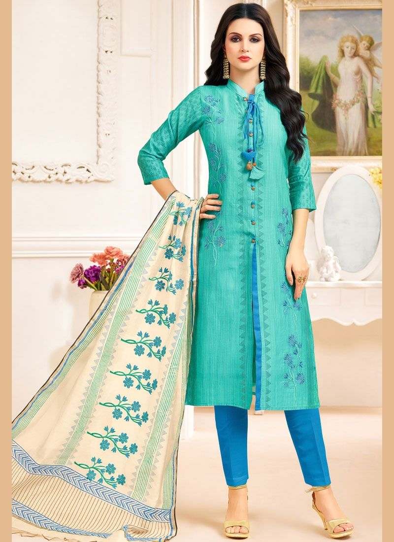 Innovative Sea Green Embroidered Work Churidar Designer Suit   Suits ...