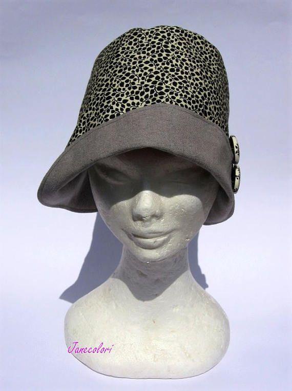 cappello cloche estivo donna cotone tessuto fatto a mano  43e57564e3c9