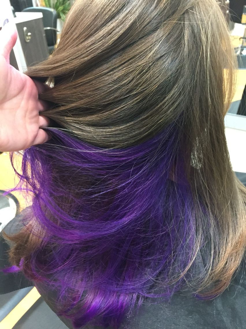 Purple Underneath In 2020 Underlights Hair Hair Color Underneath Purple Underneath Hair