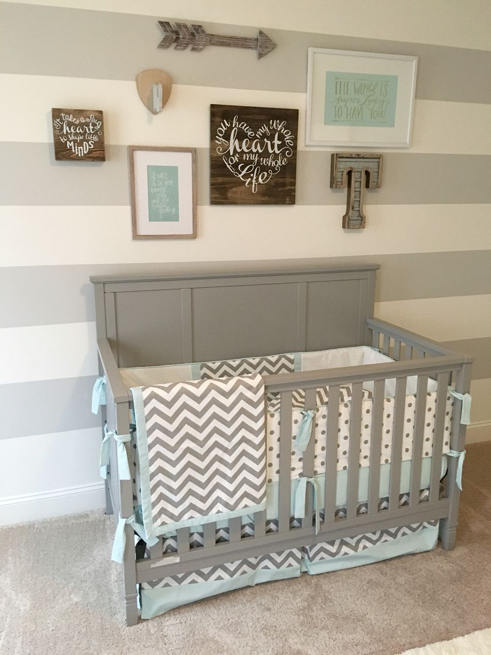 Gray And Blue Nursery Airy Gallery Wall On A Budget Stripped Kindanabell