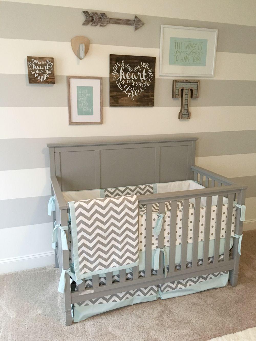 Gray and blue nursery, airy nursery, nursery gallery wall ...