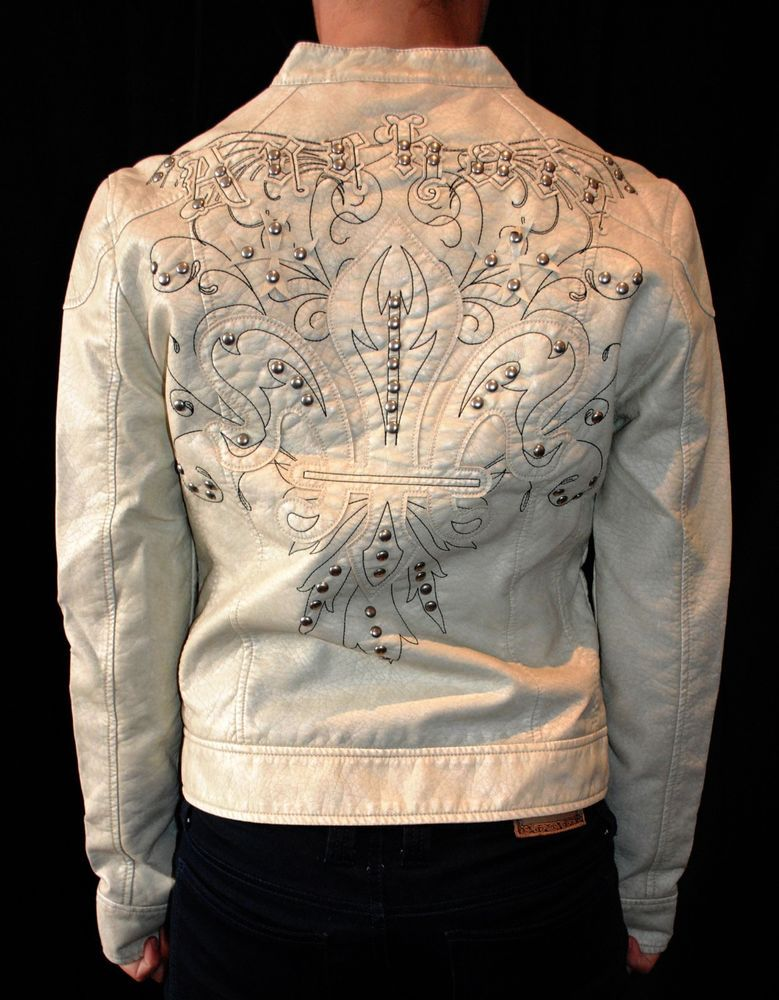 NWT ARCHAIC AFFLICTION womens studded PLEATHER MOTO JACKET