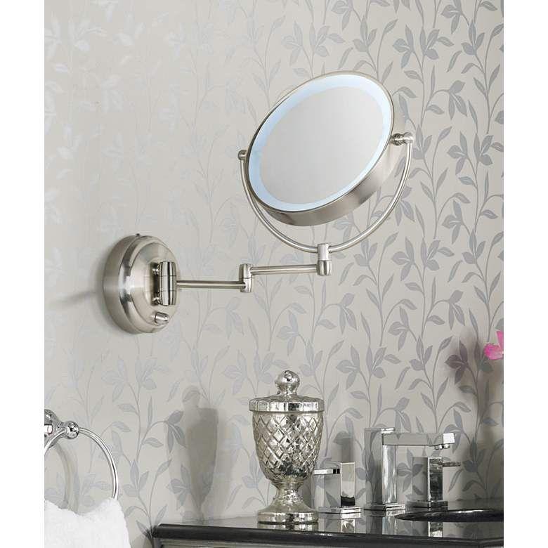 Cordless Led Pivoting Satin Nickel Wall Mount Mirror P4739 Lamps Plus Wall Mounted Makeup Mirror Wall Mounted Mirror Mirror