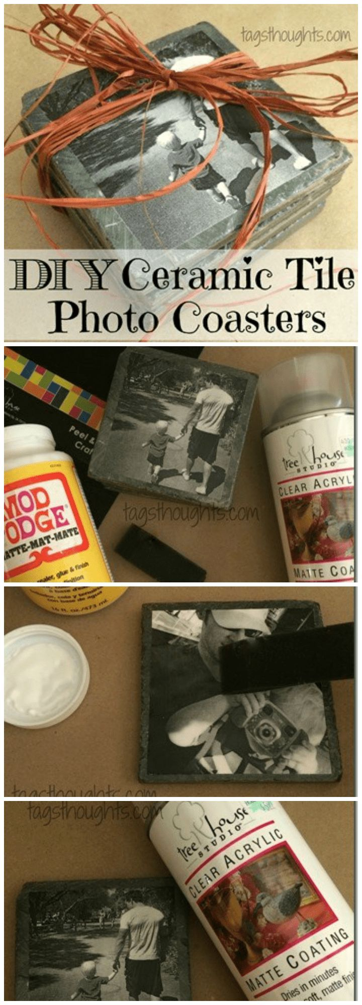 DIY Ceramic Tile Photo Coasters #bestgiftsforgrandparents