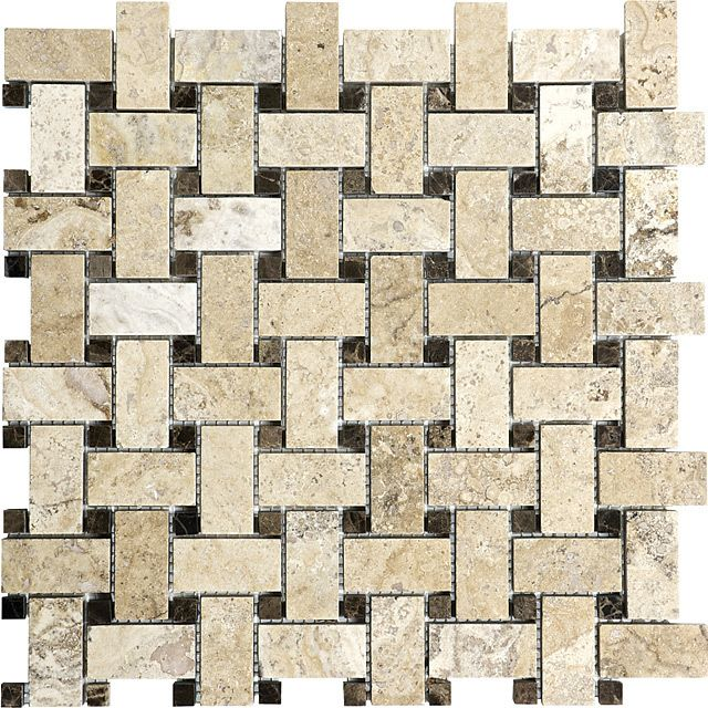 Picasso Travertine Honed Filled Basketweave Mosaic Tile