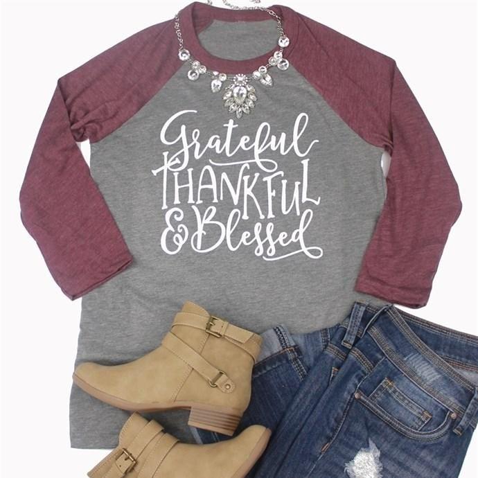 Thankful and Blessed unisex super soft Raglan baseball shirt. Brown shirt. Thanksgiving. Fall. Popular shirt. CLhapK