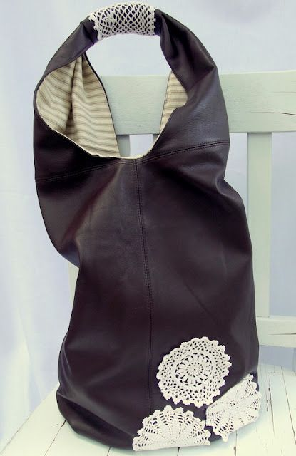 Handmade Leather Bag (sling, bucket, hobo style) tutorial using an old leather skirt by Morning by Morning Productions.
