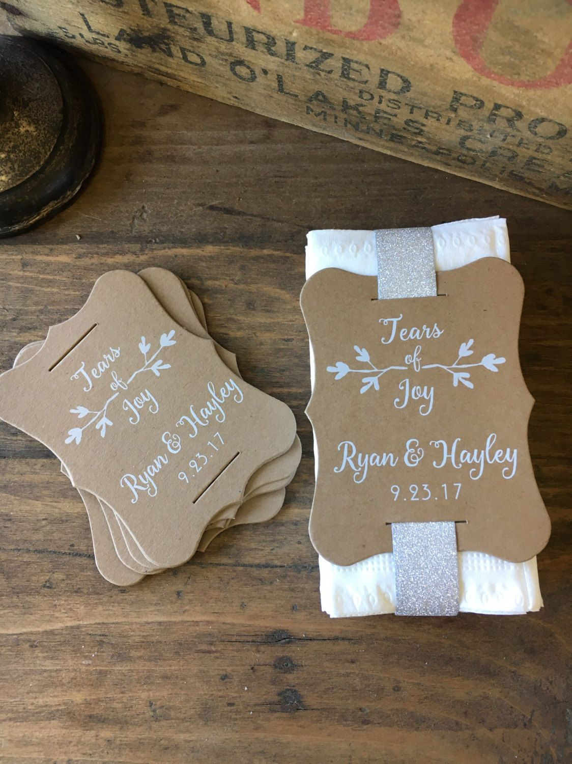 Tears Of Joy Wedding Tissue Tags Unique Custom Favors Personalized Ceremony Pack Label Set 24