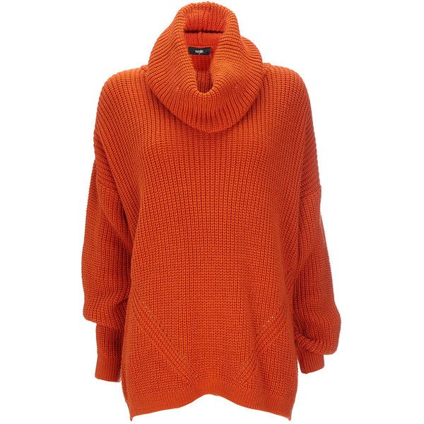 Orange Chunky Knitted Jumper ($35) ❤ liked on Polyvore featuring ...