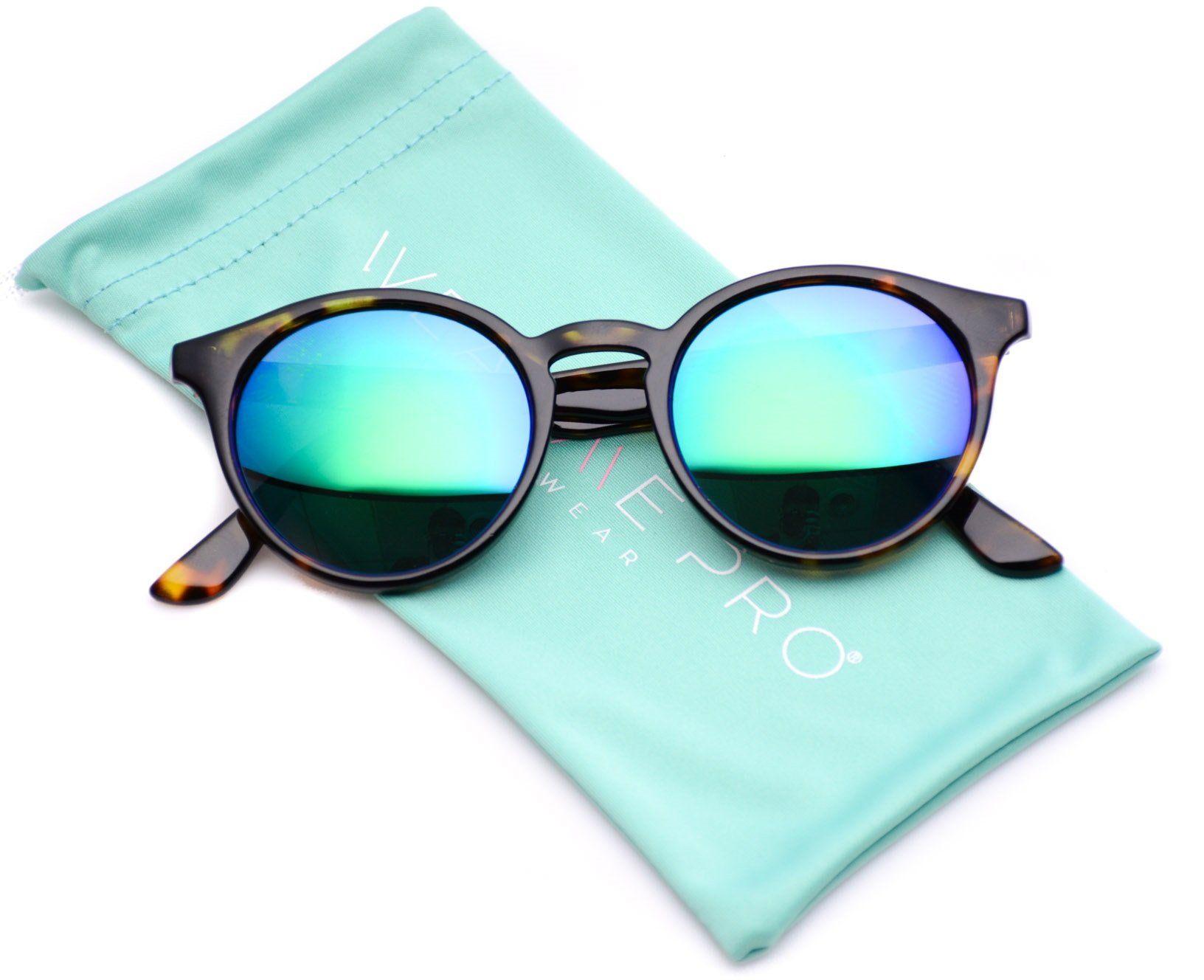 b57dc4e348 WearMe Pro Classic Small Round Retro Sunglasses Tortoise Frame  Mirror  Green Lens    Check
