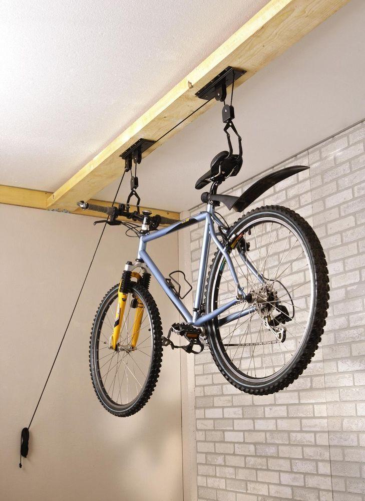 Bicycle LiftBike Ceiling Mount Pulley Hoist Rack Garage Storage Hooks Hanger
