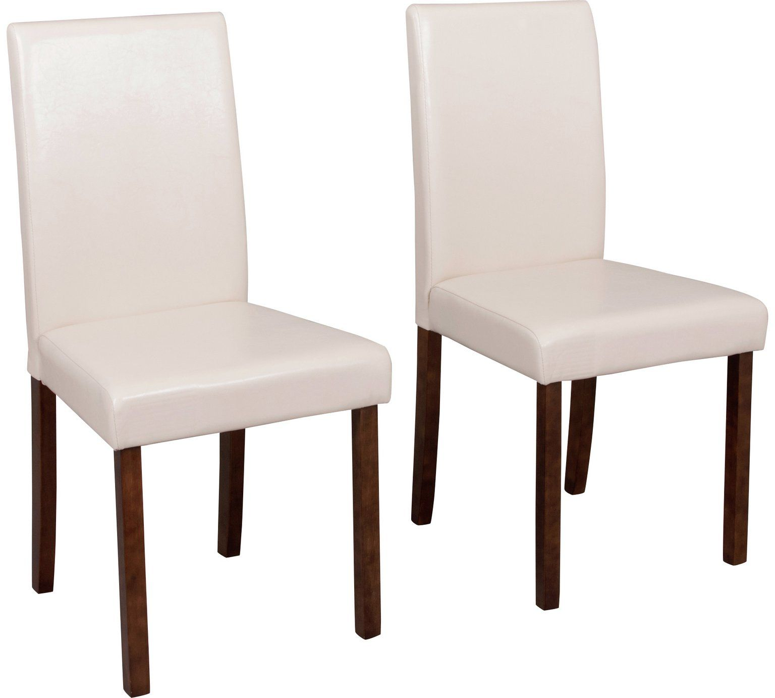 Home Pair Of Leather Effect Mid Back Chairs Black Dining
