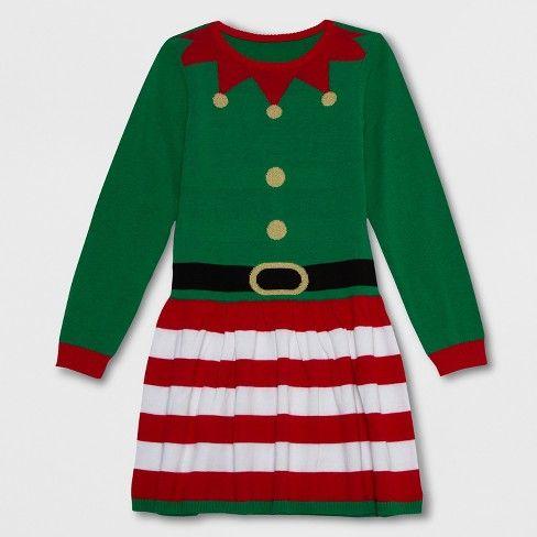 Well Worn Girlsu0027 Elf Sweater Dress Greenred Target Holiday