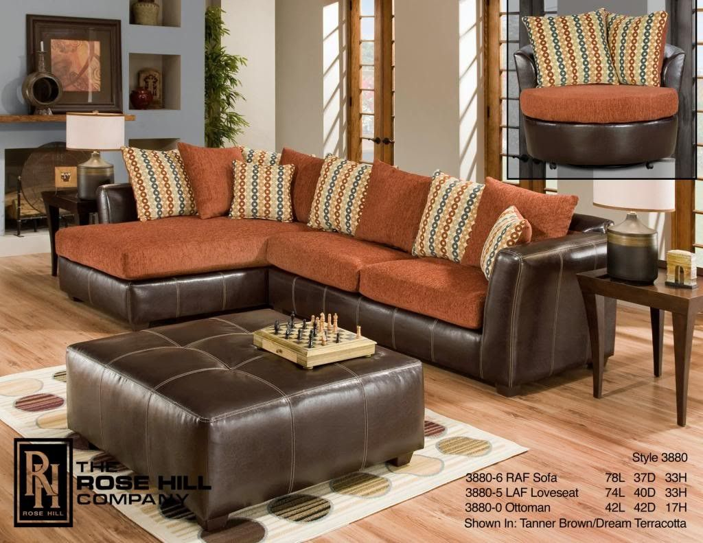Exceptional Rose Hill Furniture Trapper Brown / Dream Terracotta Complete Living  Room Set 3880 0