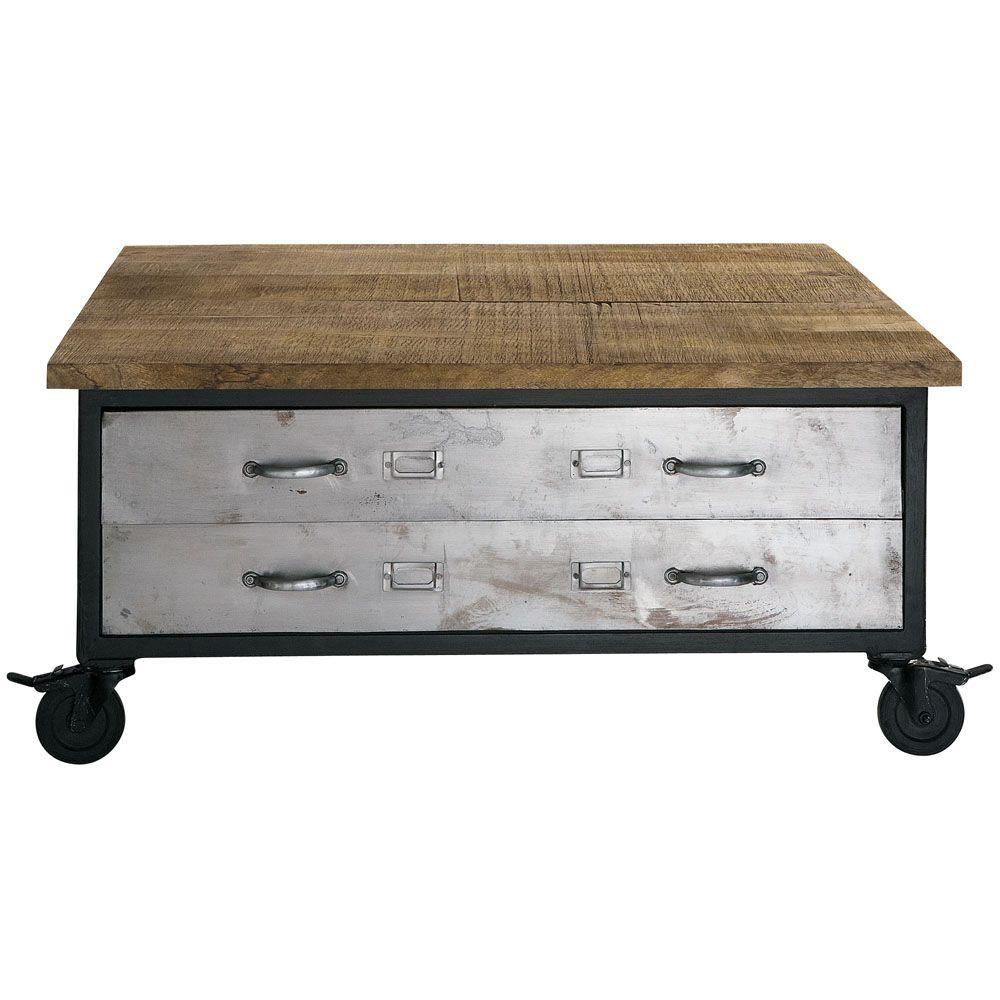 Mesa baja con ruedas de mango y metal an cm franklin cocina