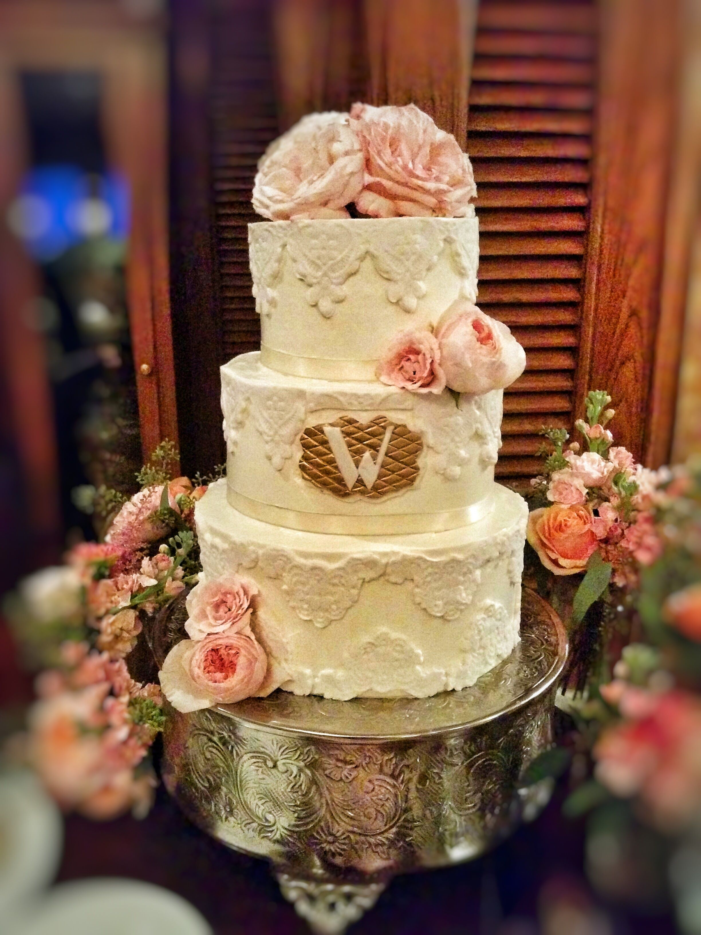 3-Tier Fondant Cake with Lace Design, Ribbon Boarder, Floral Accents ...